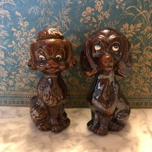 Two Vintage Brown Dog Figurines Made in Japan